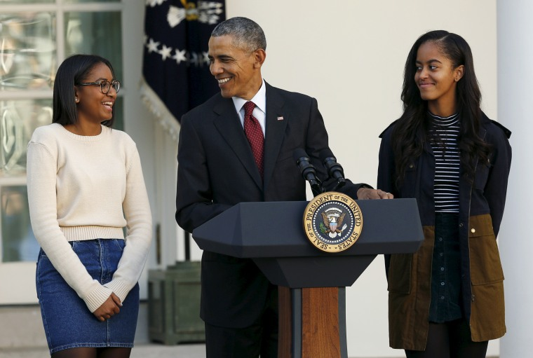 Image: Obama attends 68th annual pardoning of Thanksgiving turkey with daughters Malia and Sasha