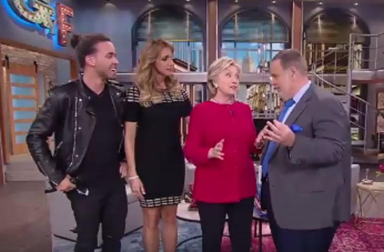 Left to right: Prince Royce, La Flaca, Hillary Clinton and El Gordo.