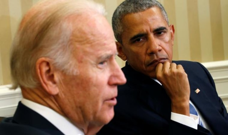 Biden and Obama discuss the Cancer Moonshot Report release in Washington