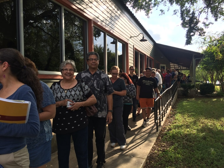 A line formed at an early voting location in Leon Valley, Texas on the first day of early voting in the state.