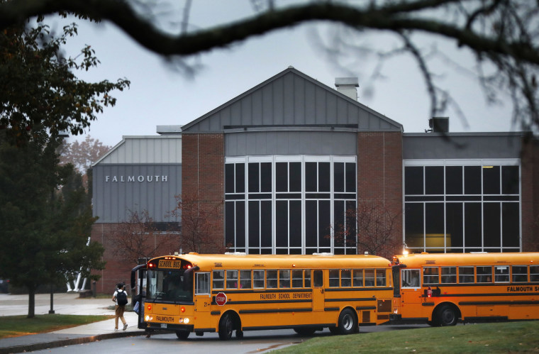 Image: Students arrive at Falmouth High School in Falmouth, Maine
