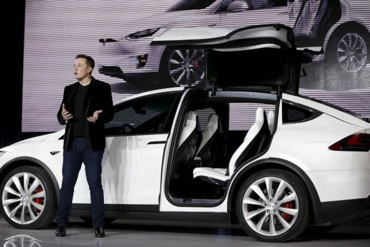 Tesla Motors CEO Elon Musk introduces the Model X electric sports-utility vehicles during a presentation in Fremont, California