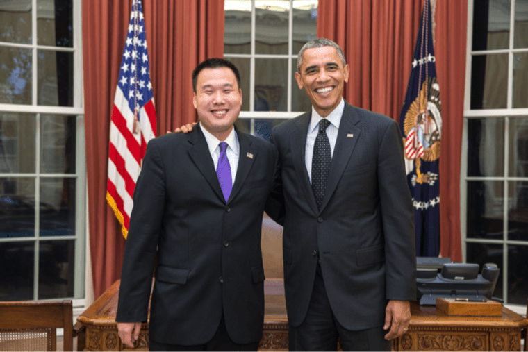 Shin Inouye, Press Secretary and Advisor for U.S. Citizenship and Immigration Services, a department of Homeland Security, with President Obama
