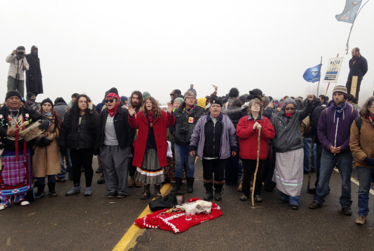 Image: Protesters against the construction of the Dakota Access oil pipeline block a highway