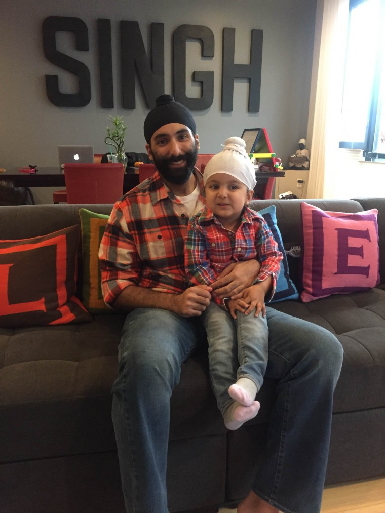 "Agan Singh with his three-year-old daughter, Satya. For Halloween 2016, Satya told her parents she wanted to be her ""dada."""
