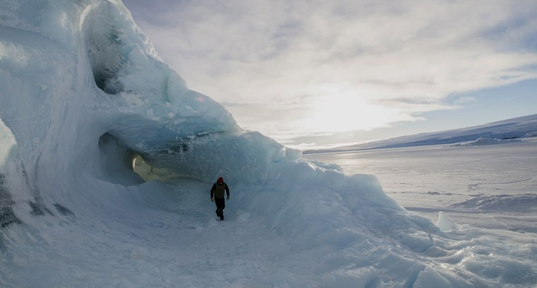 Image: A man exploring in the Ross Sea Region of Antarctica.