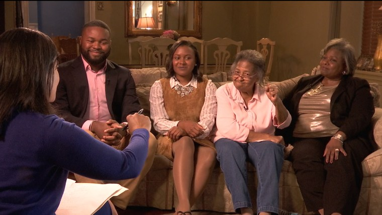 Members of the Jackson family, James III (Far left), Jordyn, Grandmother Gertude Wilmer and Whitnye gather on one couch to discuss Decision 2016 with NBC News correspondent Kristen Welker in West Philadelphia.