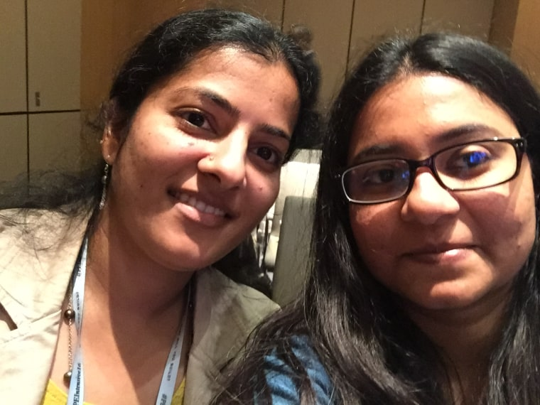 Srividhya Gopalakrishnan, left, and Preethi Chandrasekhar, right, co-founders of Indian Moms Connect and the organizers of the Festival of South Asian Children's Content on Nov. 5.