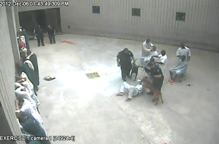 Deputy David Prejean and a police dog are seen in surveillance video attacking inmate Marcus Robicheaux at the Iberia Parish Jail on Dec. 6, 2012. Prejean was fired in January 2015 after his superiors at the Sheriff's Office watched the video.
