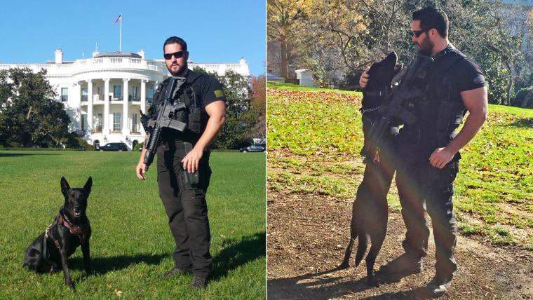 U.S. Secret Service agent Marshall with Secret Service dog Hurricane
