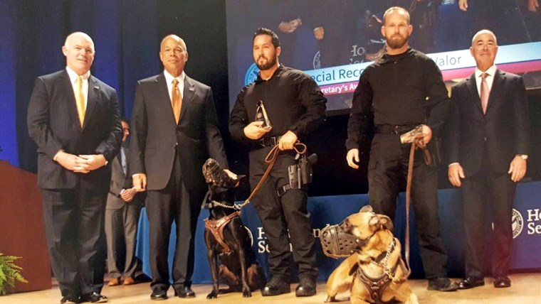 Secret Service dogs Hurricane, left, and Jardan received the Award for Valor for their apprehension of a White House fence jumper at the U.S. Department of Homeland Security Secretary's Awards in 2015.