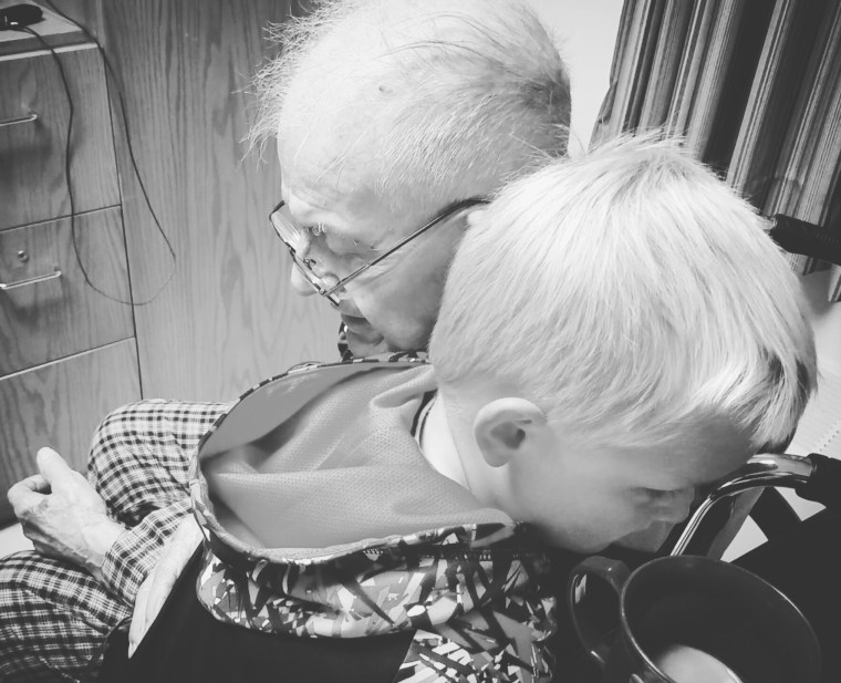 6 year old boy Emmett Rychner with his World War II veteran friend, Erling Kindem