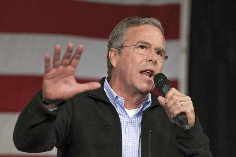 Image: U.S. Republican presidential candidate Jeb Bush speaks at the Growth and Opportunity Party at the Iowa State Fairgrounds in Des Moines, Iowa