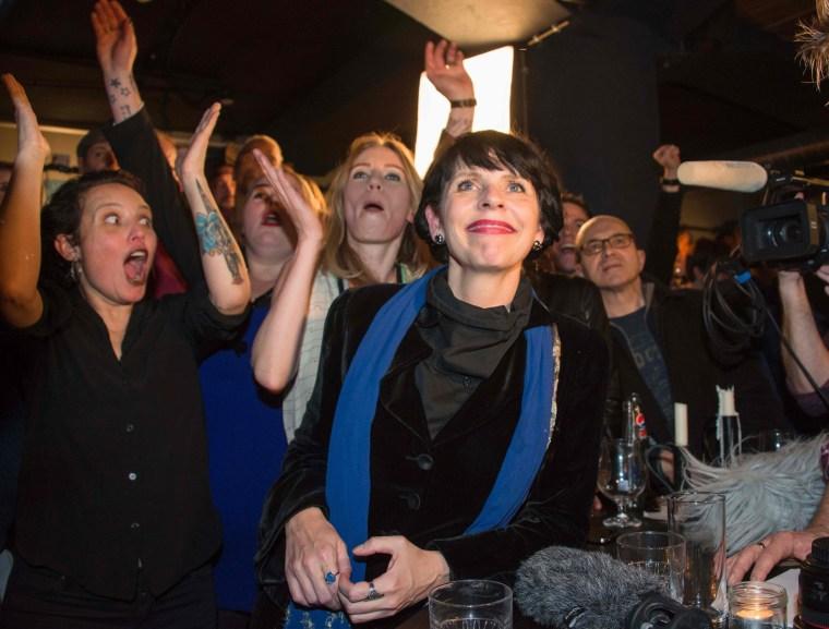 Image:  Birgitta Jonsdottir and other Pirate Party activists