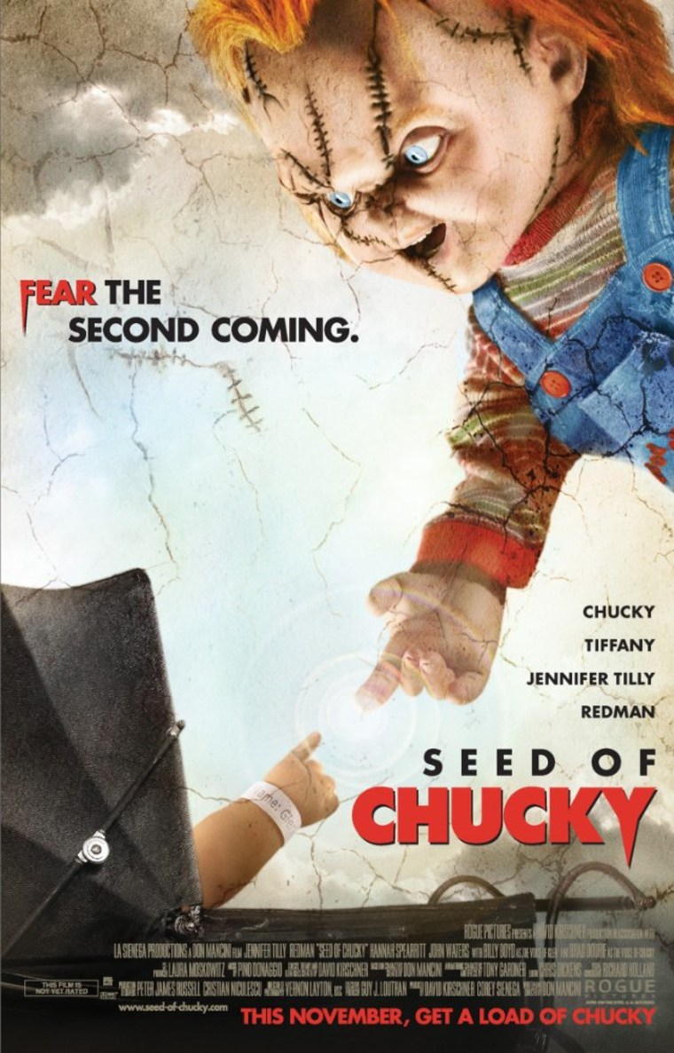 """""""Seed of Chucky"""" film poster."""