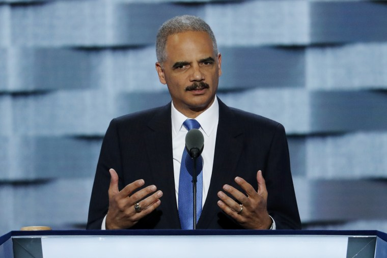 Image: Former Attorney General Eric Holder speaks during the second day of the Democratic National Convention