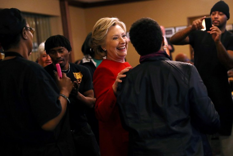 Image: Clinton greets patrons at Angie's Soul Cafe