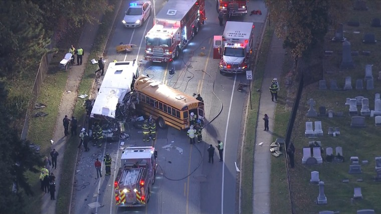 Image: A school bus and a transit bus crashed in Baltimore on Tuesday morning