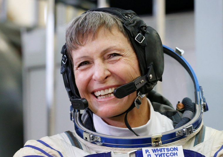 Image: ISS crew member Whitson of the U.S. attends examination training outside Moscow