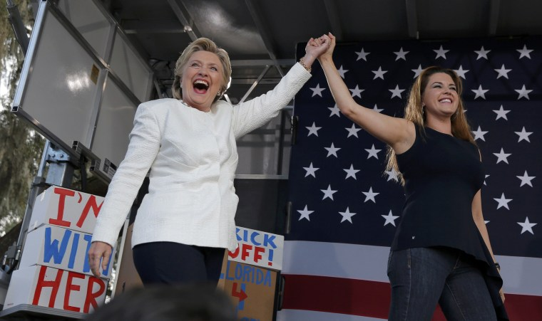 Image: Democratic U.S. presidential nominee Clinton takes the stage with Machado at campaign rally in in Dade City, Florida