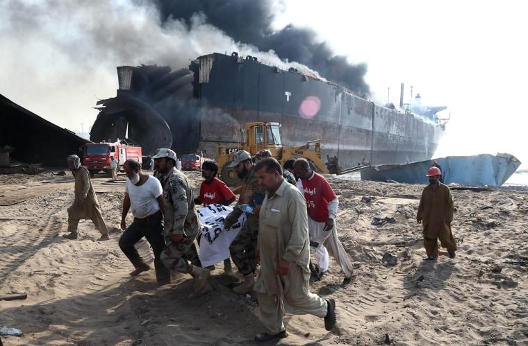Image: Nine workers were killed in a blast in Gaddani.
