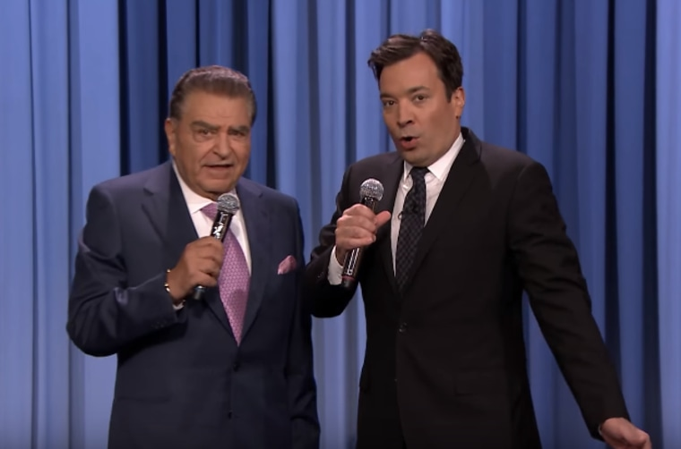 """Telemundo's Don Francisco sings """"To All the Girls I've Loved Before"""" with Jimmy Fallon."""