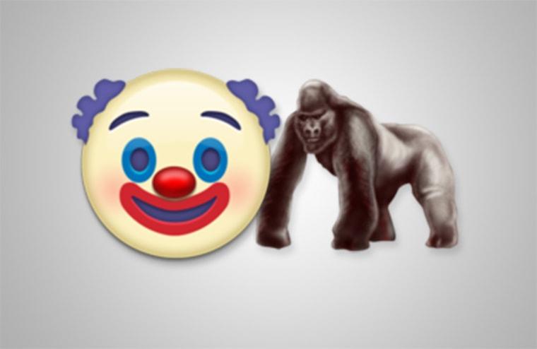 Clown and gorilla emoji