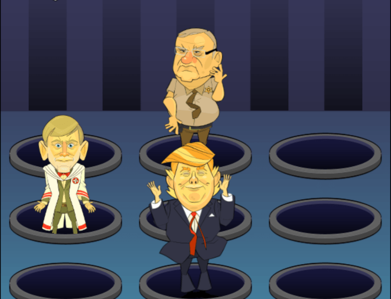 The Bazta Arpaio campaign contracted game developers to create Bop the Bigot, an online game where Donald Trump, Sheriff Joe Arpaio, and David Duke get the chanclazo that they deserve.
