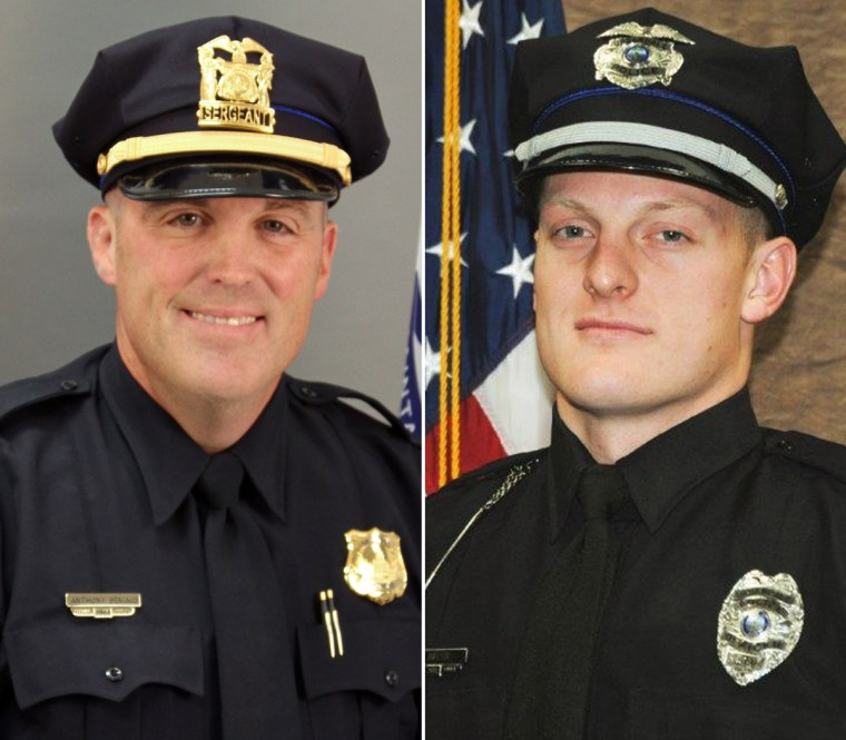 From left, Officers Tony Beminio of the Des Moines Police Department and Justin Martin of the Urbandale Police Department.