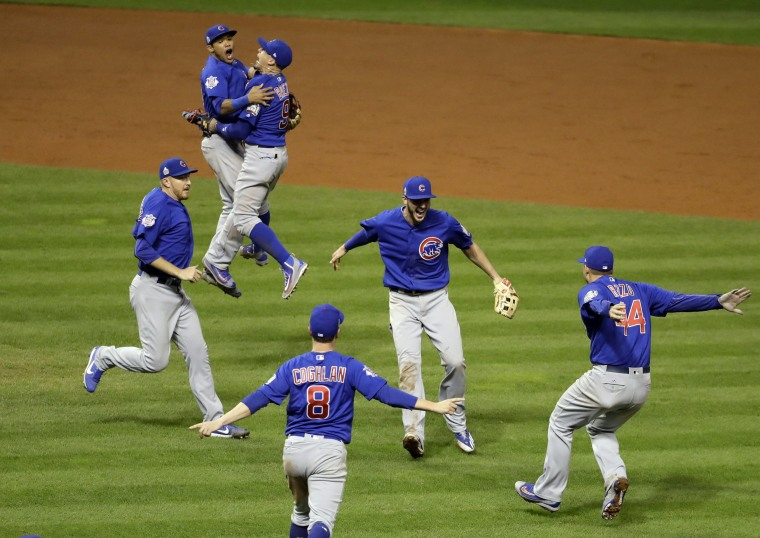 Image: The Chicago Cubs celebrate after Game 7 of the Major League Baseball World Series against the Cleveland Indians