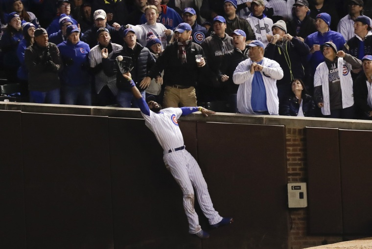8fc8539cd96 Image  Chicago Cubs right fielder Jason Heyward catches a fly ball hit by  Cleveland Indians