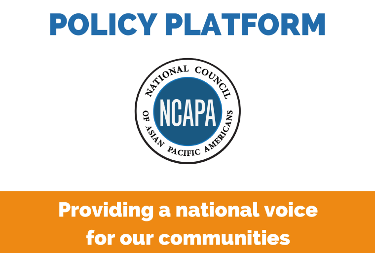 An excerpt of the cover of NCAPA's 2016 Asian American, Native Hawaiian, and Pacific Islander Policy Platform