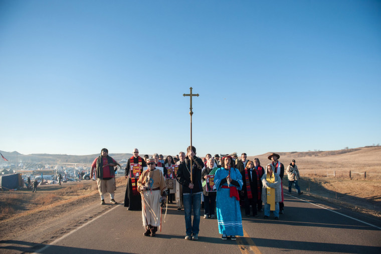 Image: Members of the clergy from across the United States participate in a march during a protest of the Dakota Access pipeline on the Standing Rock Indian Reservation near Cannonball