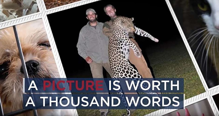 An ad by the Humane Society Legislative Fund features Donald Trump's sons, Eric and Donald Jr., holding up a dead leopard they shot during a hunting trip.