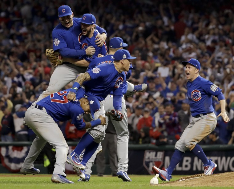 Image: Chicago Cubs celebrate after Game 7 of the Major League Baseball World Series against the Cleveland Indians