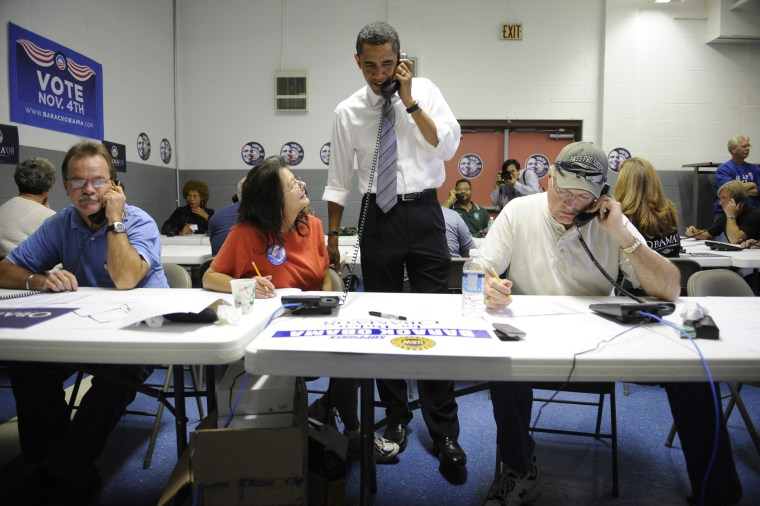 Image: US Democratic presidential candidate Illinois Senator Barack Obama helped volunteers at an United Auto Workers union hall,  phone canvassing to gather votes for him in Indianapolis, Indiana, November 04, 2008.