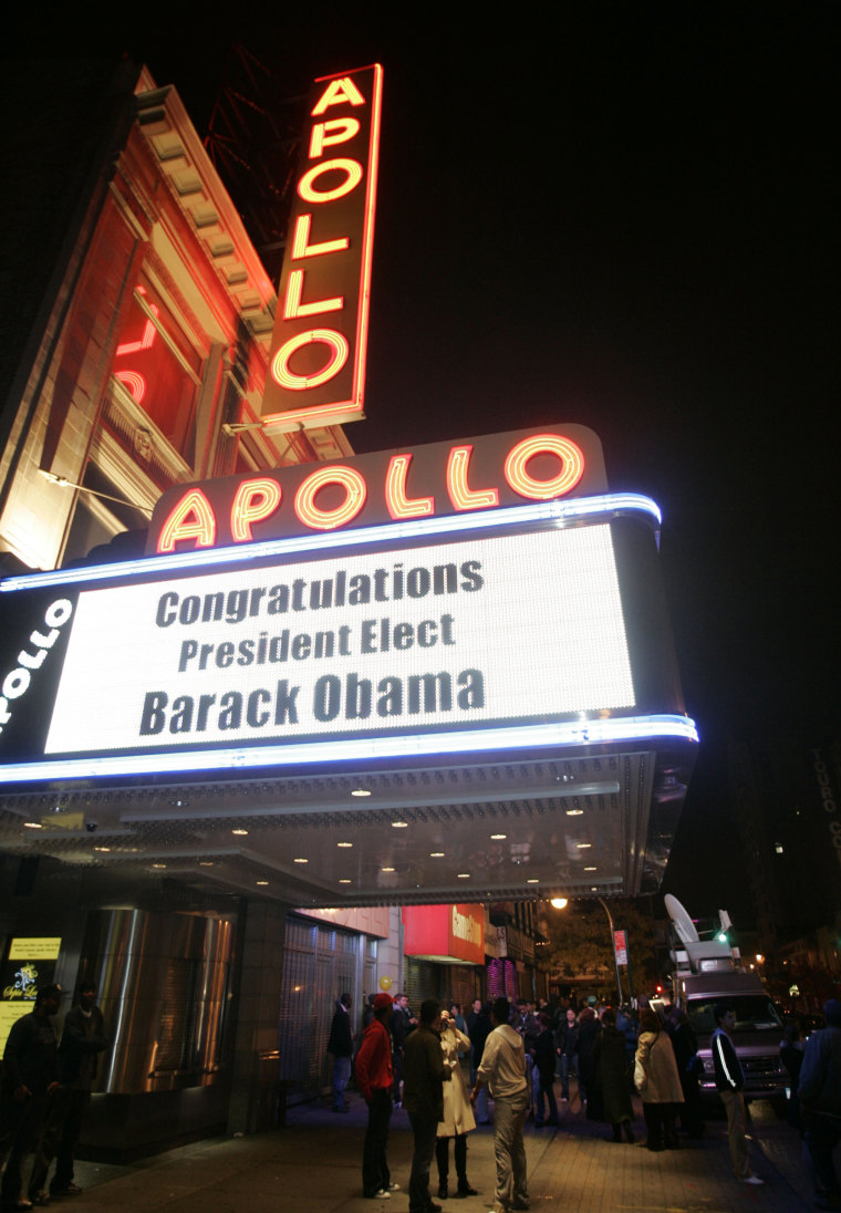 Image: The marquee of the famous Apollo theater proclaims the victory of President-elect Barack Obama early Wednesday, Nov. 5, 2008 in the Harlem section of New York.