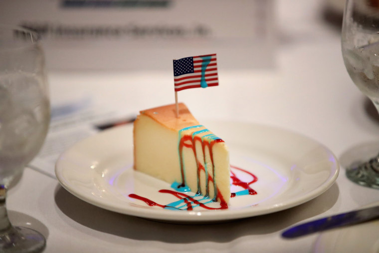 Image: A patriotic-themed slice of cheesecake