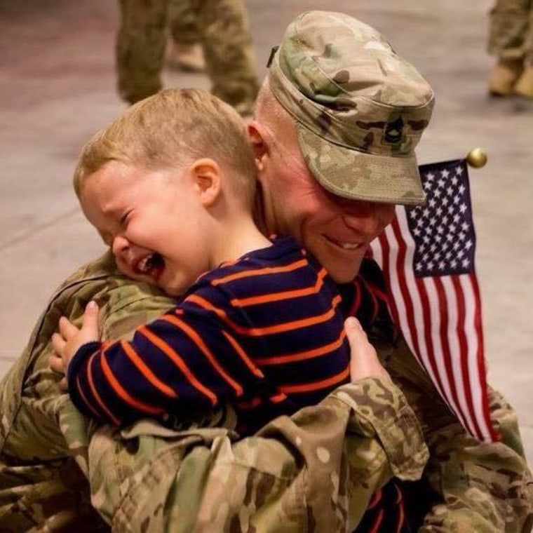 This is my son Chase who was 4 at the time seeing his dad 1SG Jeremy Legault for the first time after a year long deployment to Afghanistan.