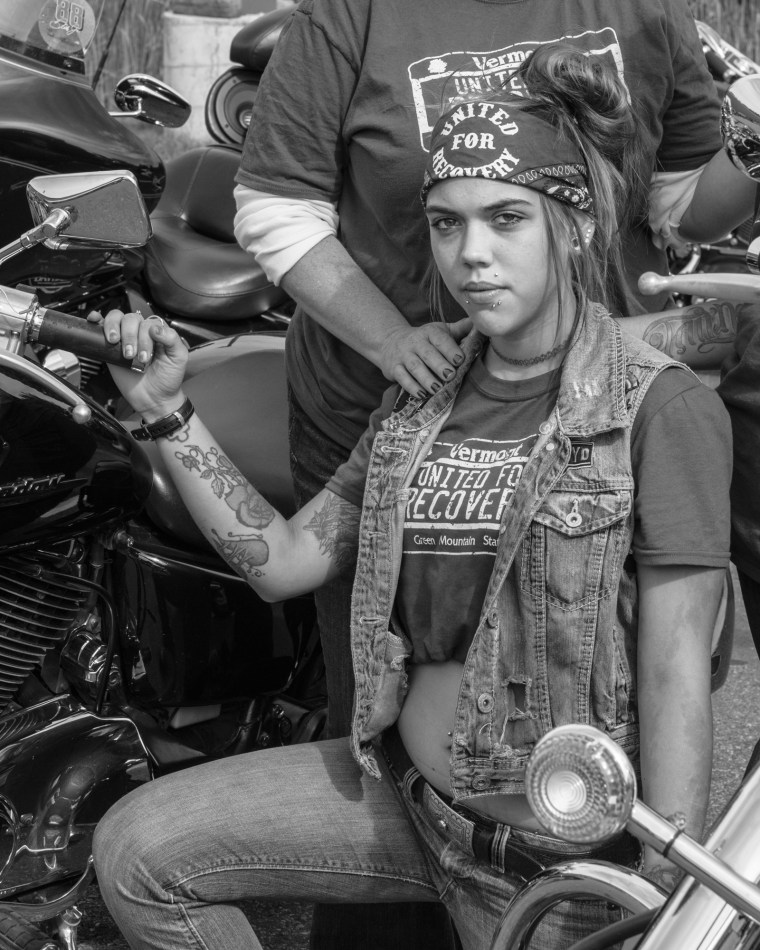 Maranda LaRose at a Scorpions motorcycle rally for opiate addiction awareness in Essex Junction, VT.