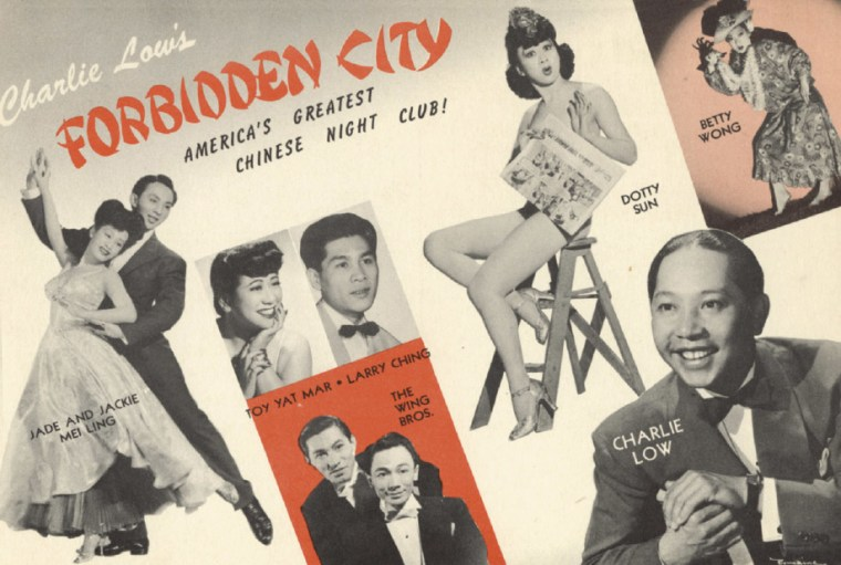 """A postcard advertising Charlie Low's """"Forbidden City, America's Greatest Chinese Night Club"""" from the mid 1940s."""
