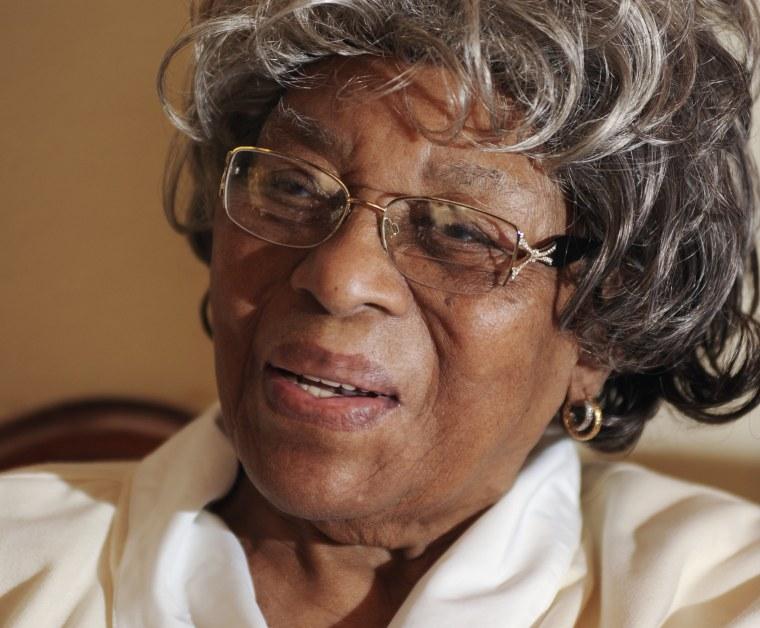 102-year-old Christine Adams speaks in her home in Resica Falls, Pennsylvania.
