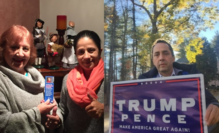 From left to right: Latins Clinton supporters and a German Jose Ortiz, a Latino Trump supporter.