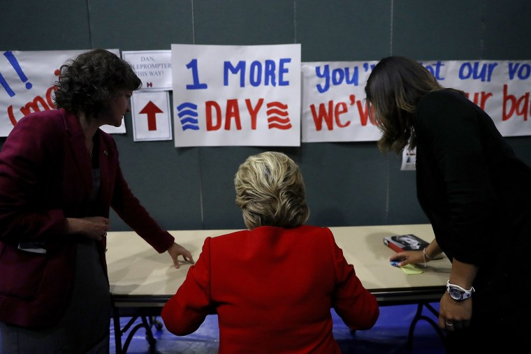 Image: Hillary Clinton Campaigns Across US One Day Ahead Of Presidential Election