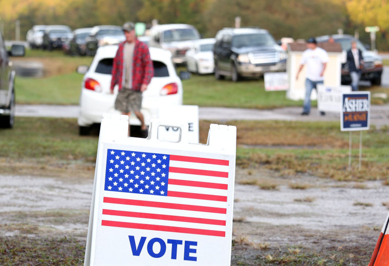 Image: Voters arrive at polling station in Christmas, Florida