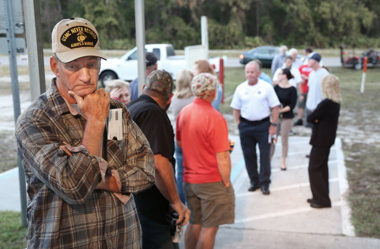 Image: Voters line up outside a polling station in Christmas, Florida