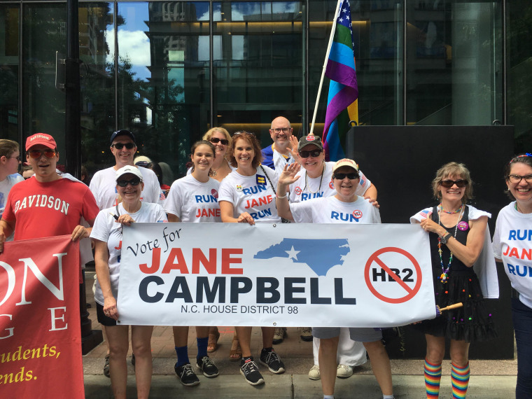 Jane Campbell and supporters
