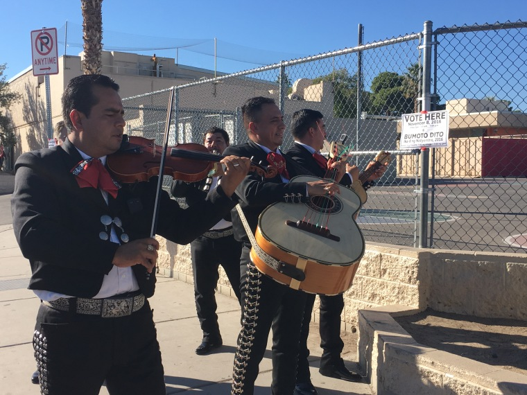 Mariachi Vegas serenades voters as they head to the polls in Las Vegas in the 2016 election.