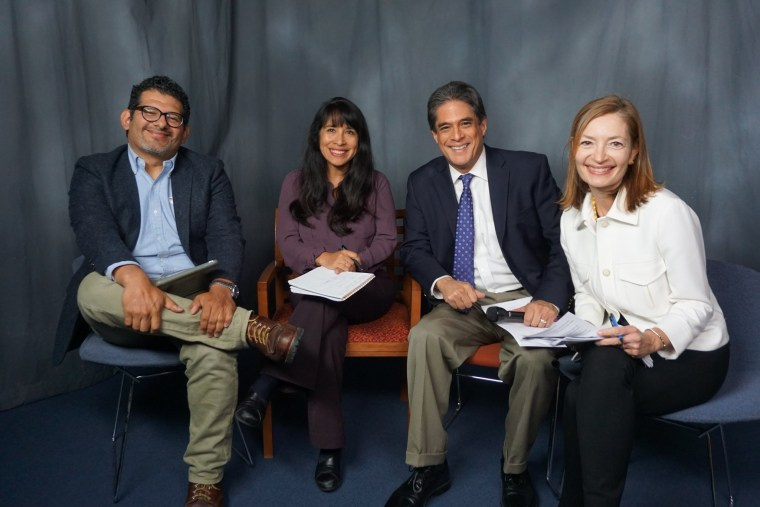 Left to right: Stephen Nuno, Suzanne Gamboa, Raul A. Reyes and Sandra Lilley on FacebookLIVE November 8, 2016.