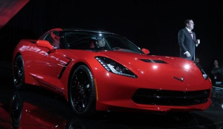 General Motors Corp. President of North America Mark Reuss introduces the Chevrolet 2014 Corvette vehicle during a press event in Detroit